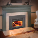 Large flush wood Hybrid-Fyre Insert by Lopi